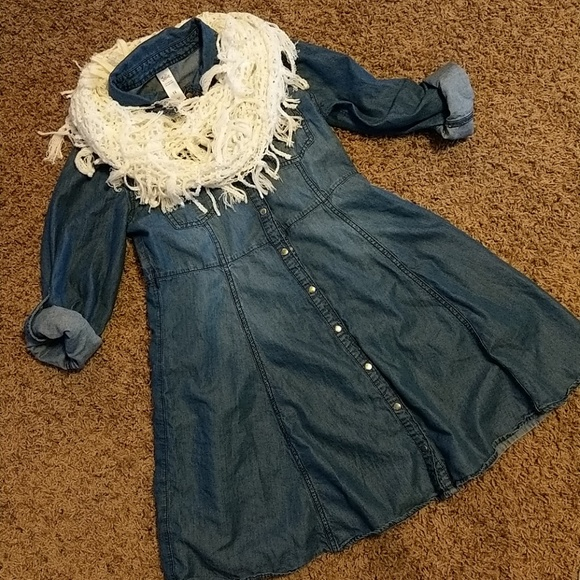 Justice Other - Justice bluejean dress with scarf. Size 14.